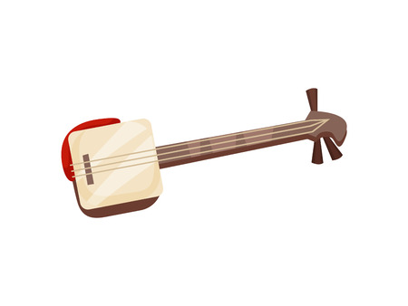 Traditional Japanese musical string instrument. Shamisan. Vector illustration on white background.