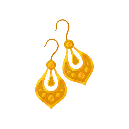 Pair of gold earrings without precious stones. Vector illustration.