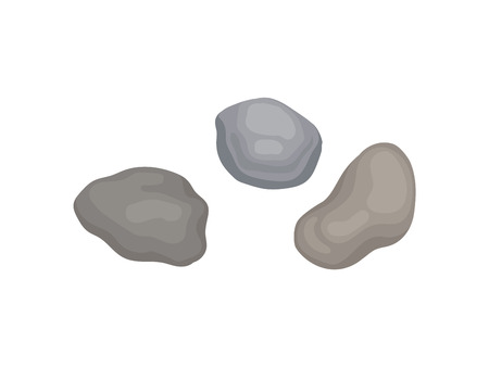 Three garden stones. View from above. Vector illustration on white background. Ilustração