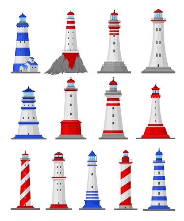 Set of illustrations of different types of lighthouses. Vector illustration.