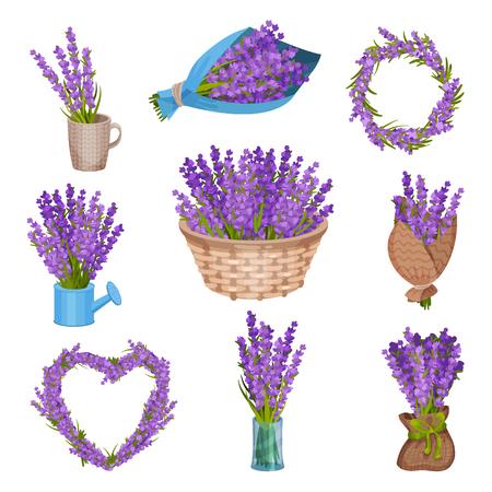 Set di mazzi di fiori viola. Illustrazione vettoriale su sfondo bianco. Vettoriali