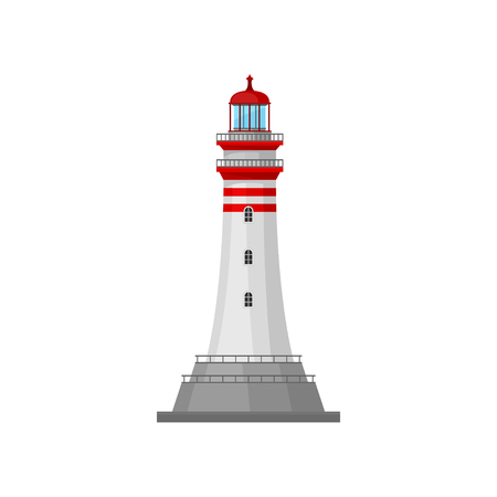 Lighthouse with stripes on the pedestal. Vector illustration. Stock Illustratie