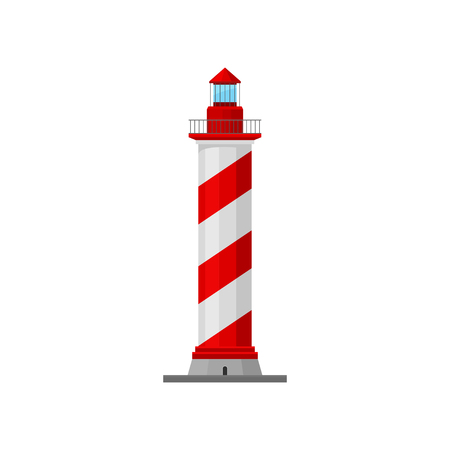 Lighthouse with a spiral pad and a caretaker. Vector illustration.