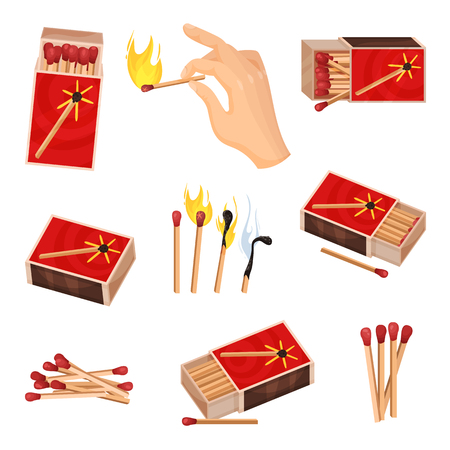 Collection of matches. Vector illustration isolated on white background.