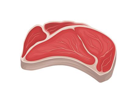 Big piece of raw meat. Vector illustration on white background. Vektorové ilustrace