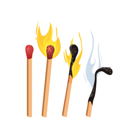 Burning and extinct matches without box. Vector illustration Illustration