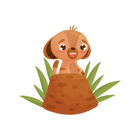 Cheerful gopher near the hole in the grass. Vector illustration on white background. Ilustracja