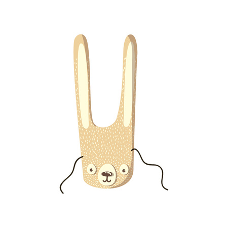 Mask of a cute hare with long ears. Vector illustration on white background.