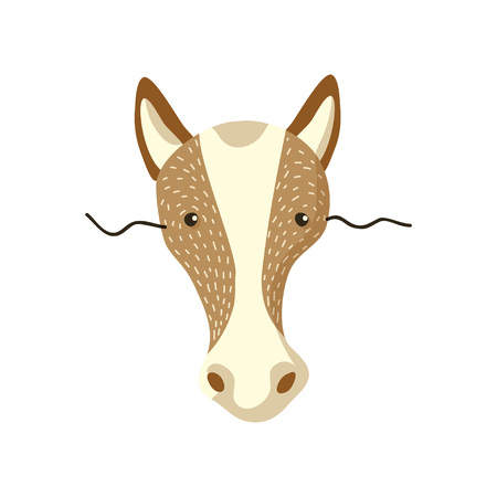 Cute horse mask on face. Vector illustration on white background.