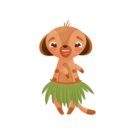 Humanized gopher in a Hawaiian skirt made of palm leaves. Vector illustration on white background.