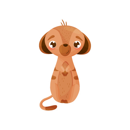 Embarrassed cartoon gopher sitting with folded legs on the tummy. Vector illustration on white background.