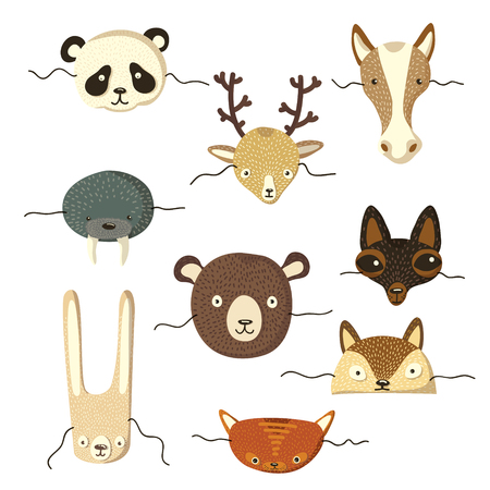 Collection of masks of various animals. Bear, fox, panda, fur seal, deer, horse, lynx. Vector illustration on white background