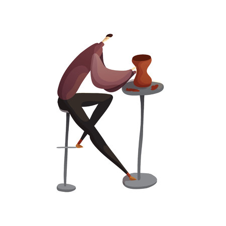 Potter sculpts a clay jug. Sits on a high chair. Vector illustration on white background.