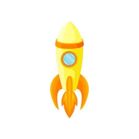 Yellow rocket with a red stripe and one porthole. Vector illustration on white background.