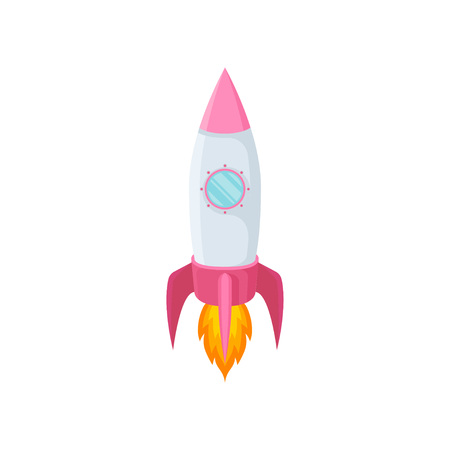 Blue rocket with one porthole and a pink nose. Vector illustration on white background. Ilustrace