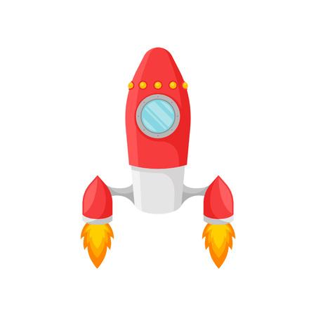 Red rocket with one porthole. Vector illustration on white background.