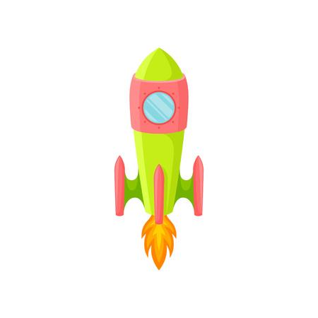 Green-red rocket with one porthole. Vector illustration on white background. Ilustração
