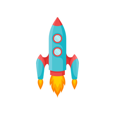Blue rocket with two portholes and a red nose. Vector illustration on white background. Stock Illustratie