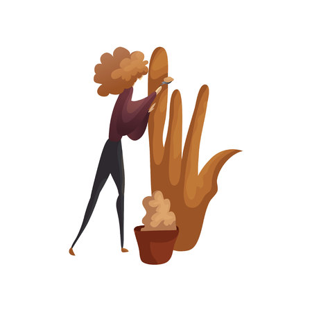 Sculptor sculpts from clay mock-up sculpture in the form of hands. Vector illustration on white background.