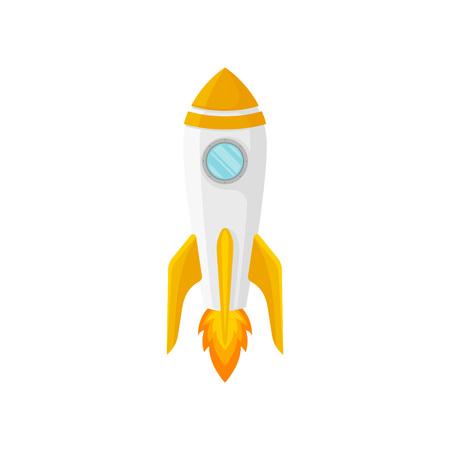 White rocket with one porthole and orange nose. Vector illustration on white background. Ilustrace