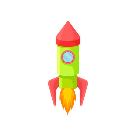 Green rocket with a red nose and one porthole. Vector illustration on white background.