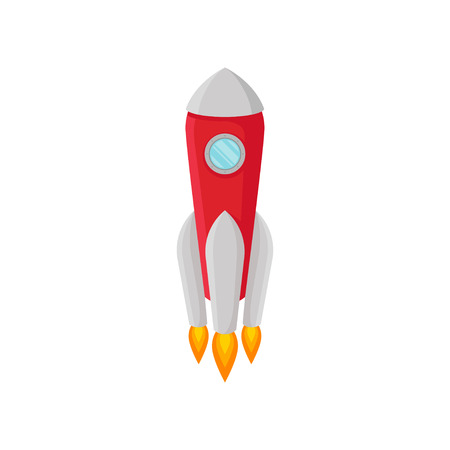 Red rocket with one porthole and gray nose. Vector illustration on white background.