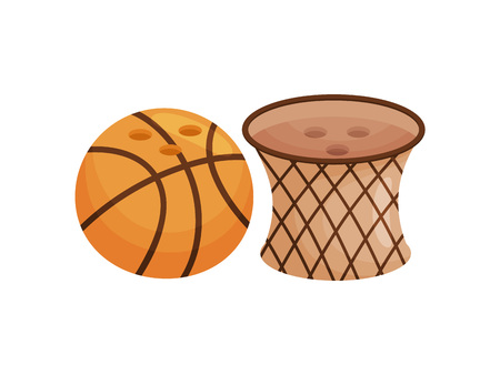 Stylish salt and pepper shaker in the form of a basketball ring and ball. Vector illustration on white background.