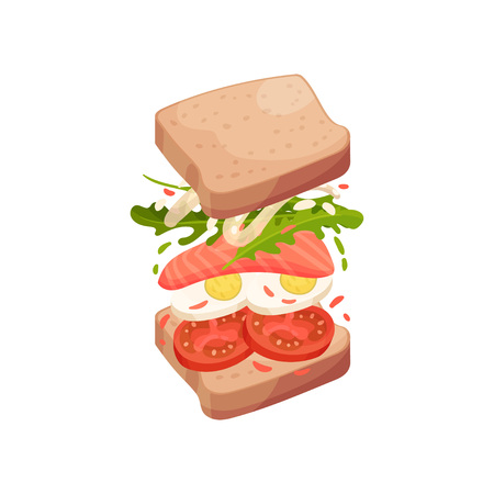 Sandwich on square pieces of bread with egg, red fish, greens, tomato. Vector illustration on white background.