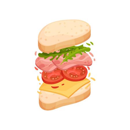 Sandwich sur un morceau de pain ovale avec jambon, fromage, tomate, légumes verts. Illustration vectorielle sur fond blanc.