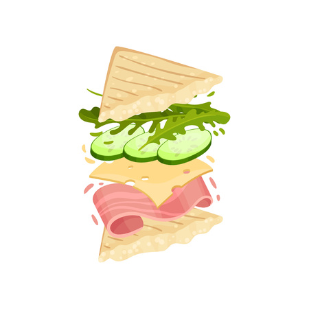 Sandwich on a triangular toast. Vector illustration on white background.