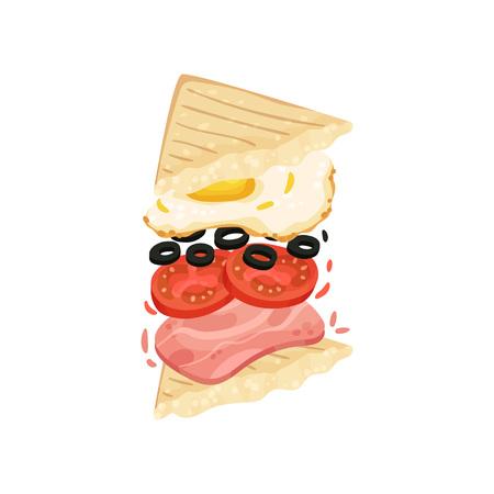 Sandwich on triangular toasts with egg, tomato, olive, ham. Vector illustration on white background. Stock Illustratie