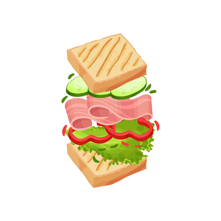 Sandwich on square toasts with bacon, greens, cucumber, bell pepper. Vector illustration on white background.