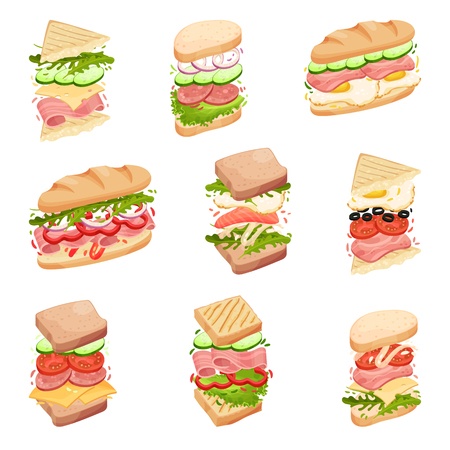 Set sandwiches. In a loaf, square and triangular toasts, with different fillings. Bacon, cheese, lettuce, tomato Vector illustration