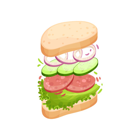 Sandwich on an oval piece of loaf with salami, onion, cucumber, greens. Vector illustration on white background.