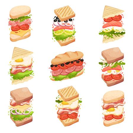Collecte de sandwichs. Différentes formes et compositions. Bacon, fromage, laitue, tomate. Illustration vectorielle sur fond blanc