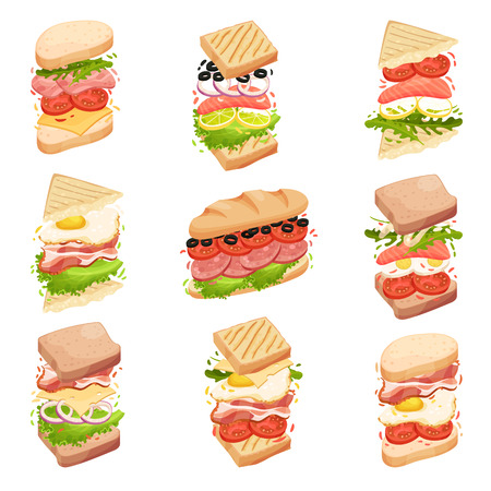 Sandwiches collection. Different forms and composition. Bacon, cheese, lettuce, tomato. Vector illustration on white background