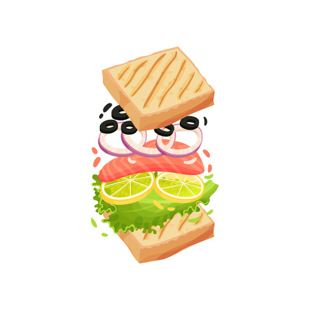 Sandwich on square toasts with red fish, lettuce, lemon, onion, olive. Vector illustration on white background.
