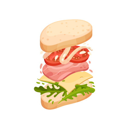 Sandwich on an oval piece of loaf with ham, cheese, tomato, mayonnaise, greens. Vector illustration on white background.