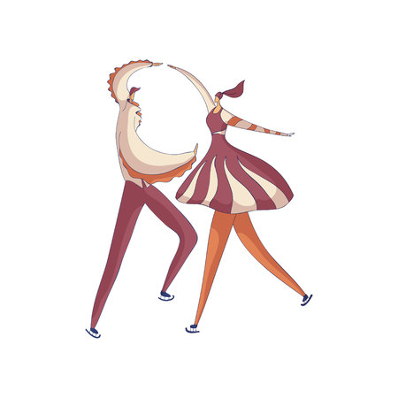 Pair skaters man and a woman dancing in a purple costume. Vector illustration on white background.