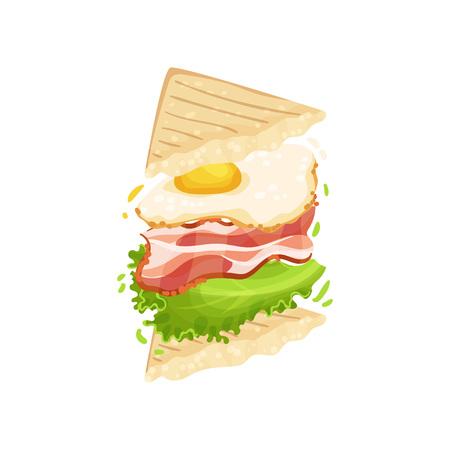 Sandwich sur toasts triangulaires avec bacon, oeuf, laitue. Illustration vectorielle sur fond blanc.