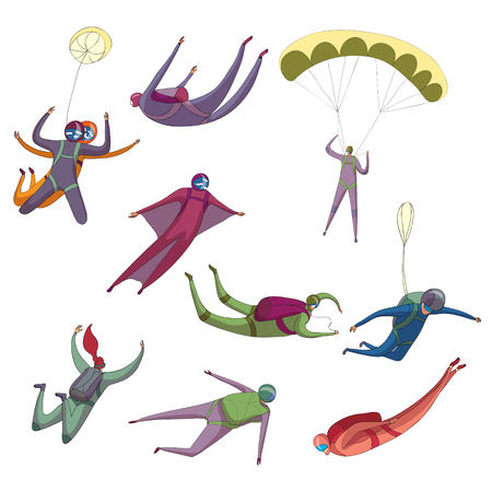 Set of images of different skydiver in flight. Vector illustration on white background.