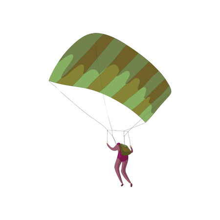 Skydiver in a purple suit soars on an open striped parachute. Vector illustration on white background.