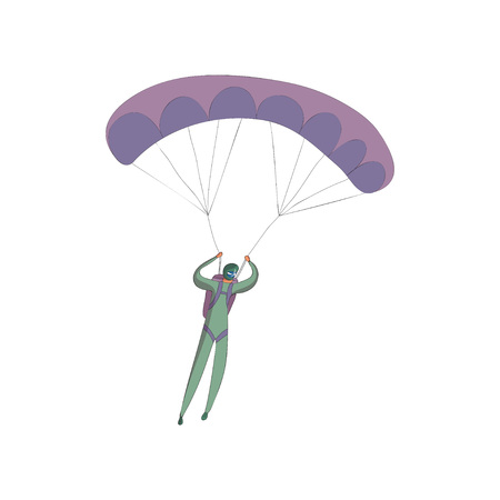 Skydiver in a green suit soars on an open purple parachute. Front view. Vector illustration on white background.
