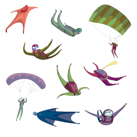 Group skydivers flying in different positions. Vector illustration on white background.