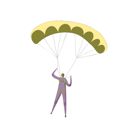 Skydiver in a purple suit descends on an open yellow parachute. Front view. Vector illustration on white background.