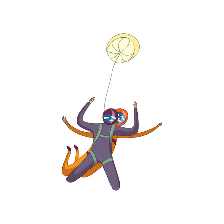 Pair of skydivers flies together. Reserve parachute is closed. Bottom view. Vector illustration on white background. Illustration