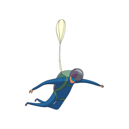 Skydiver walks down in a blue suit with a backpack. The reserve parachute is closed. Side view. Vector illustration on white background. Illustration
