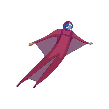 Skydiver soars in a purple helmet and a suit with wings. Bottom view. Vector illustration on white background.