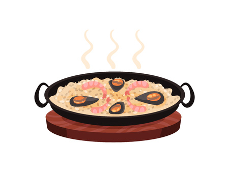 Hot paella with shrimps and mussels on a round wooden board. Vector illustration on white background.