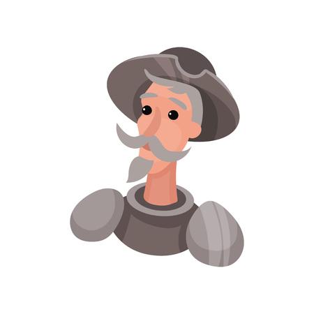 Don Quijote con armadura. Busto. Ilustración vectorial sobre fondo blanco. Ilustración de vector